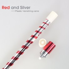 Plastic Vanishing Cane--Red&Silver