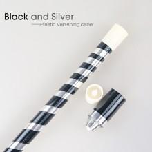 Plastic Vanishing Cane--Black&Silver